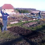 Making the most of the weather at the allotment