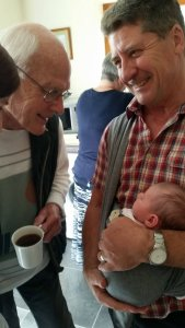 Isla having cuddles with Grandpa, and meeting Great Grandad for the first time while at Mum and Dad's.