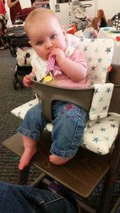 Isla enjoying the Stokke high chair